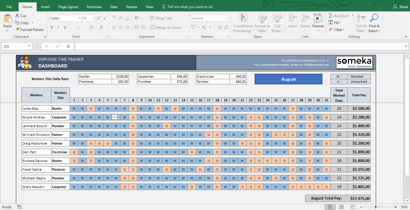 Exceptional Payroll Template   Excel Timesheet   Template Screenshot Image 1   Someka Regard To Excel Templates For Payroll