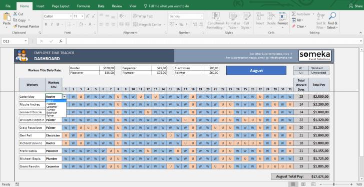 Payroll Template - Excel Timesheet - Template Screenshot Image 2 - Someka
