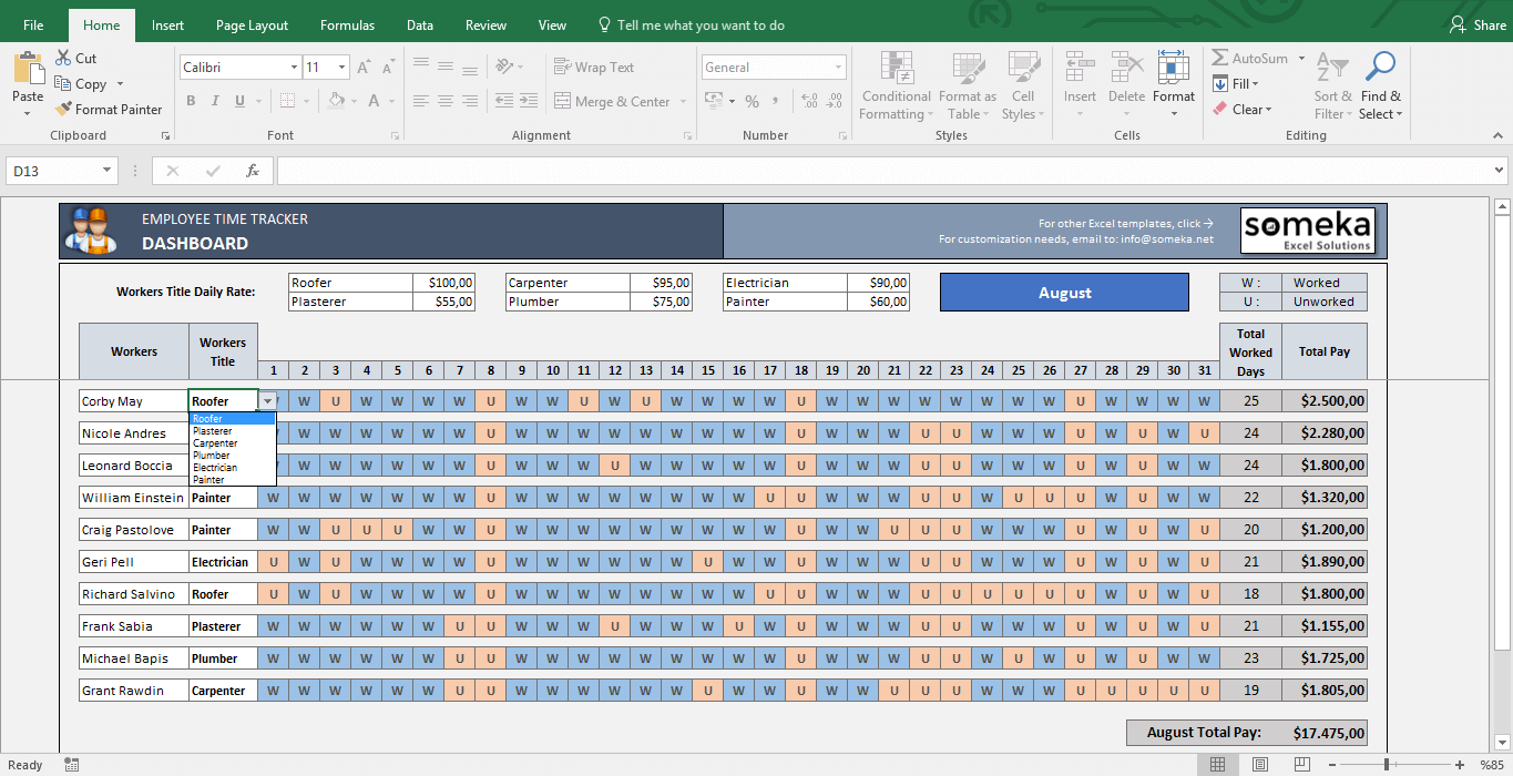 Payroll Template - Excel Timesheet - Template Screenshot Image 2 - Someka