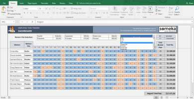 Payroll Template - Excel Timesheet - Template Screenshot Image 3 - Someka