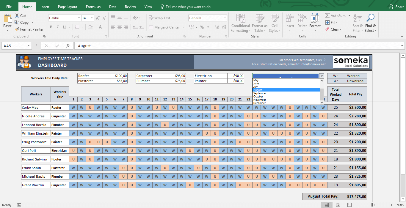 Payroll Template   Excel Timesheet   Template Screenshot Image 3   Someka  Payroll Template Free