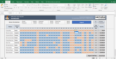 Payroll Template - Excel Timesheet - Template Screenshot Image 4 - Someka