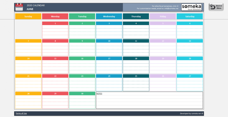 Excel-Calendar-Template-2020-Someka-SS1