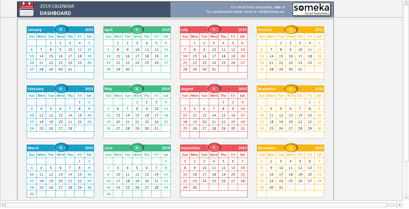 Calendario In Excel 2020.Excel Calendar Template