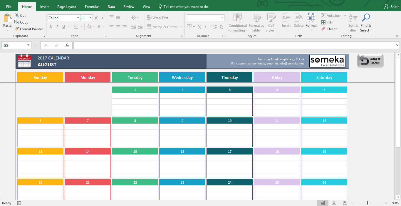 Excel Calendar Templates 2016 2018 Free 2017 Template Screenshot Image 2