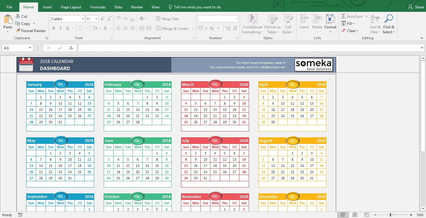 Excel calendar templates download free printable excel template excel calendar templates 2016 2018 free excel calendar 2018 template screenshot image 1 pronofoot35fo Gallery
