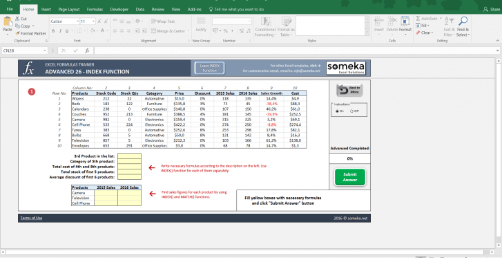 Excel Formulas Trainer - Advanced | Practice Workbook - Screenshot Image 2 - Someka