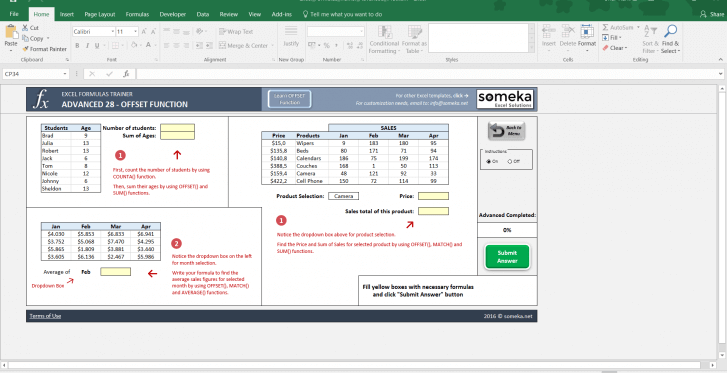 Excel Formulas Trainer - Advanced | Practice Workbook - Screenshot Image 3 - Someka