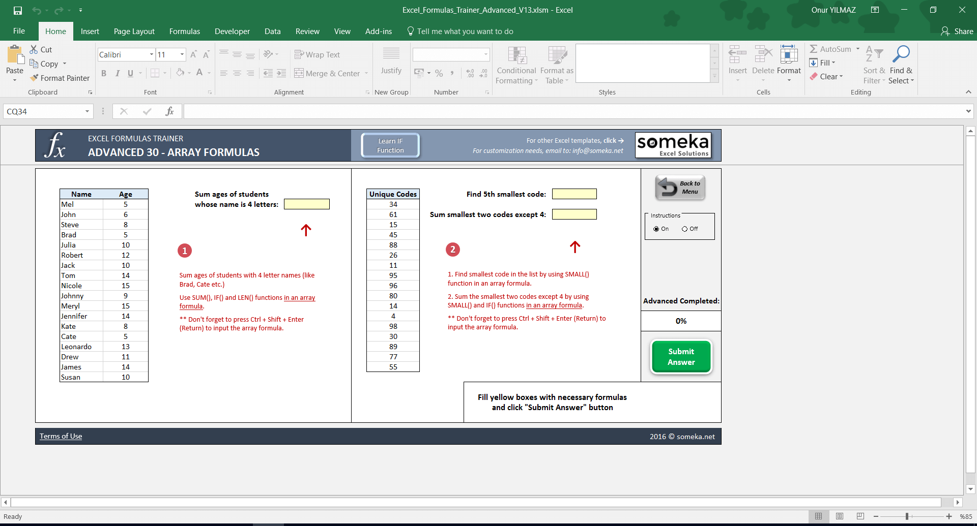 Excel Formulas Trainer - Advanced | Practice Workbook - Screenshot Image 4 - Someka