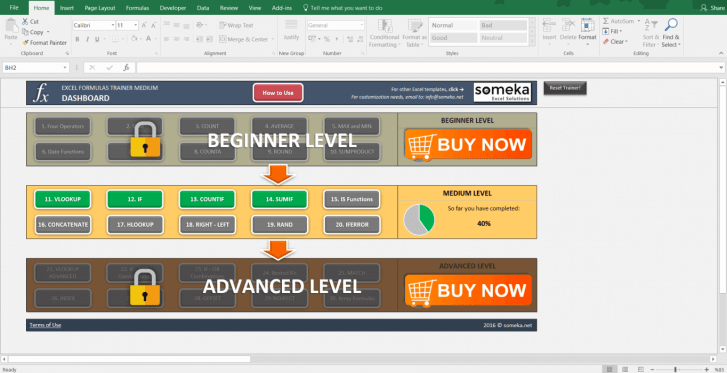 Excel Formulas Trainer - Medium | Practice Workbook - Screenshot Image 5 - Someka