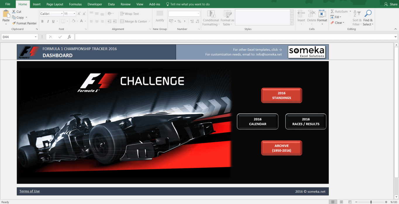 Formula 1 Championship Tracker 2016 Excel Template - Screenshot 1 - Someka