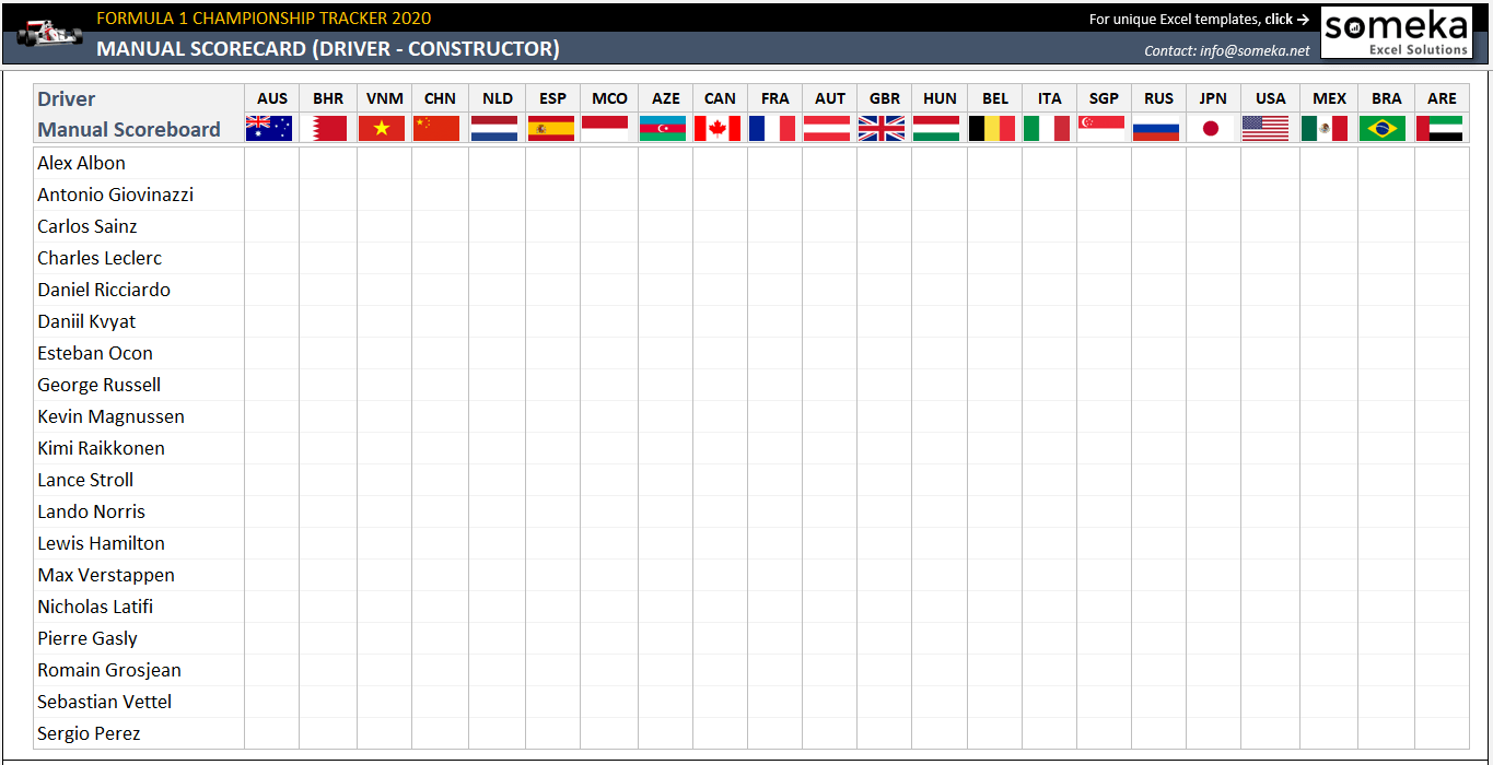 Formula 1 Championship Tracker 2020 Formula One Schedule In Excel