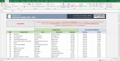 Fortune Global 500 2016 Excel List Screenshot 2 Someka