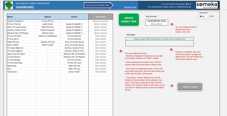 Automatic Family Tree Maker - Excel Template - Someka 1