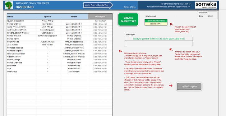 Automatic Family Tree Maker - Excel Template - Someka 3
