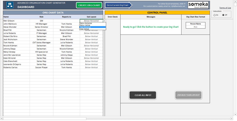 Automatic Organizational Chart Generator – Advanced Version - Someka SS16