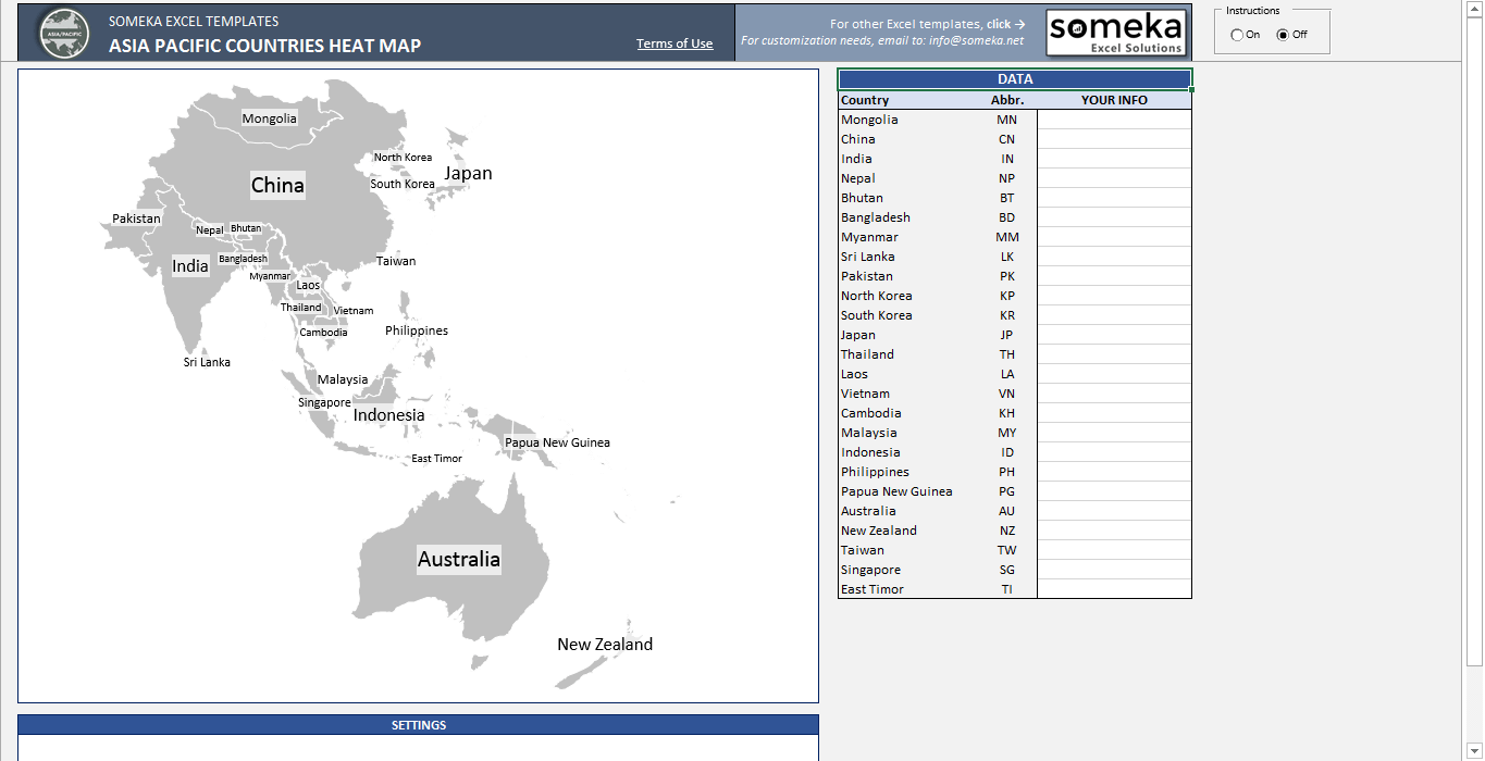 Asia Pacific Heat Map Excel Template - Automatic Country Coloring