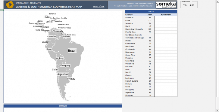 Central & South America Geographic Heat Map Generator - Someka SS11