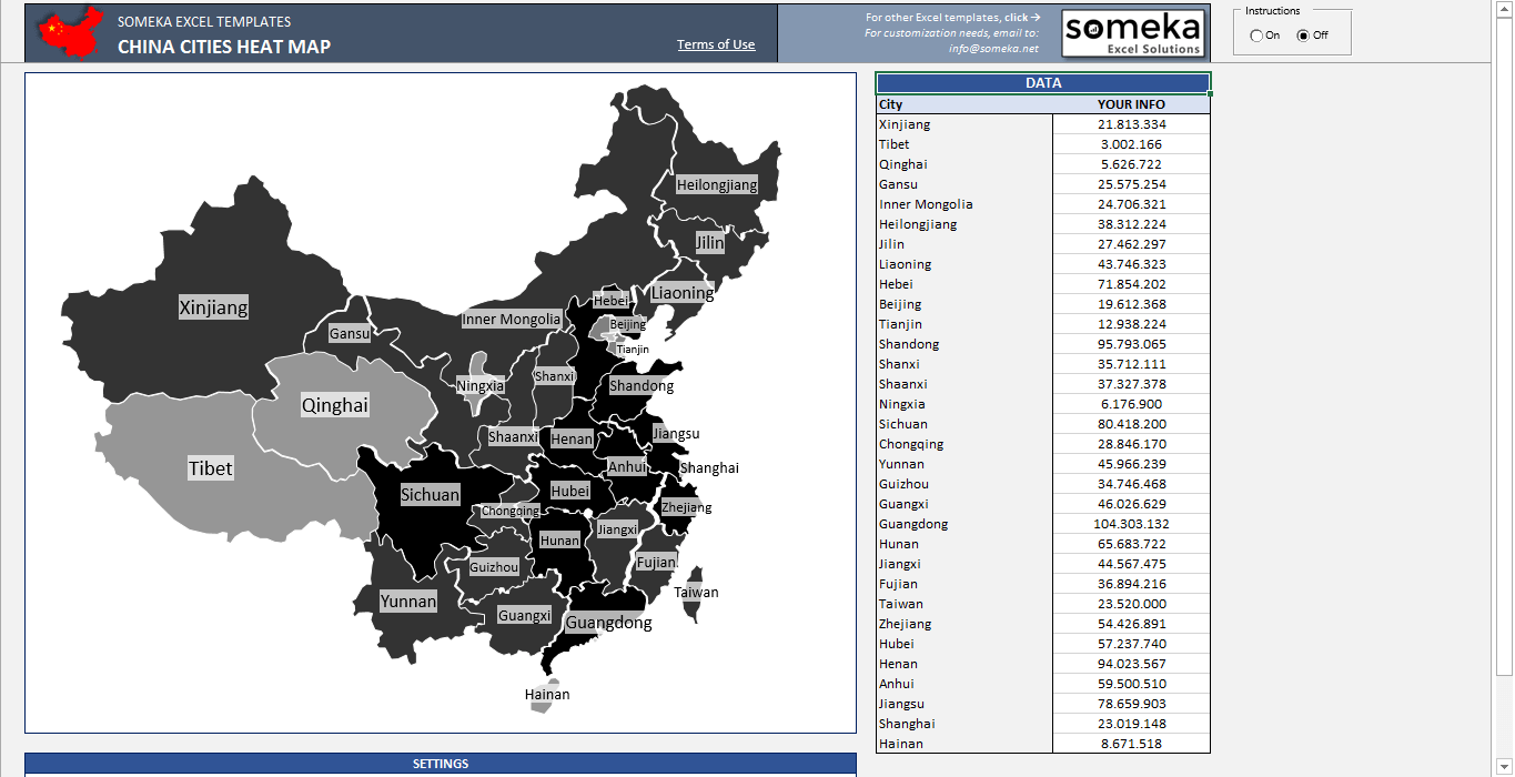 State Templates | China Heat Map Excel Template Automatic City State Coloring