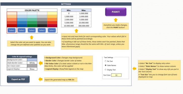 Someka Heat Map Excel Template Settings