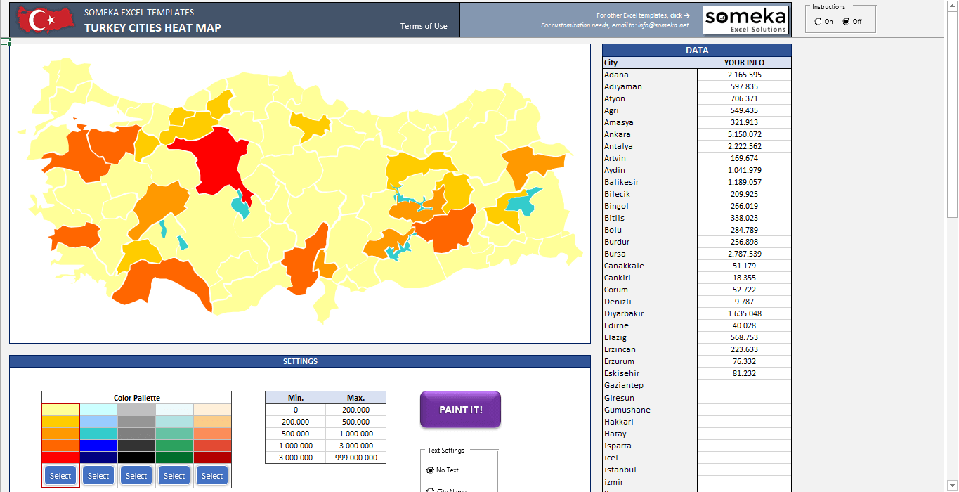Turkey Geographic Heat Map Generator - Someka SS11