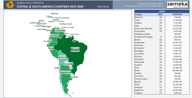 Central & South America Geographic Heat Map Generator