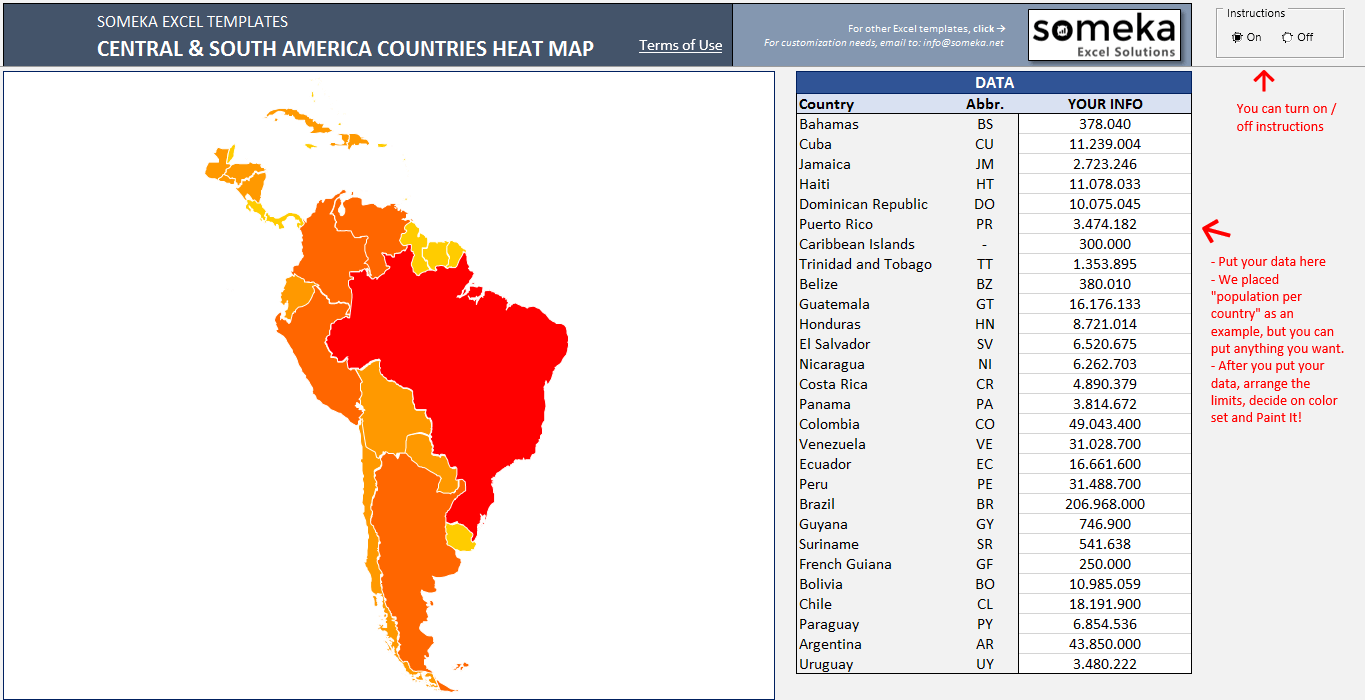 Central South America Heat Map in Excel Automatic Country Coloring
