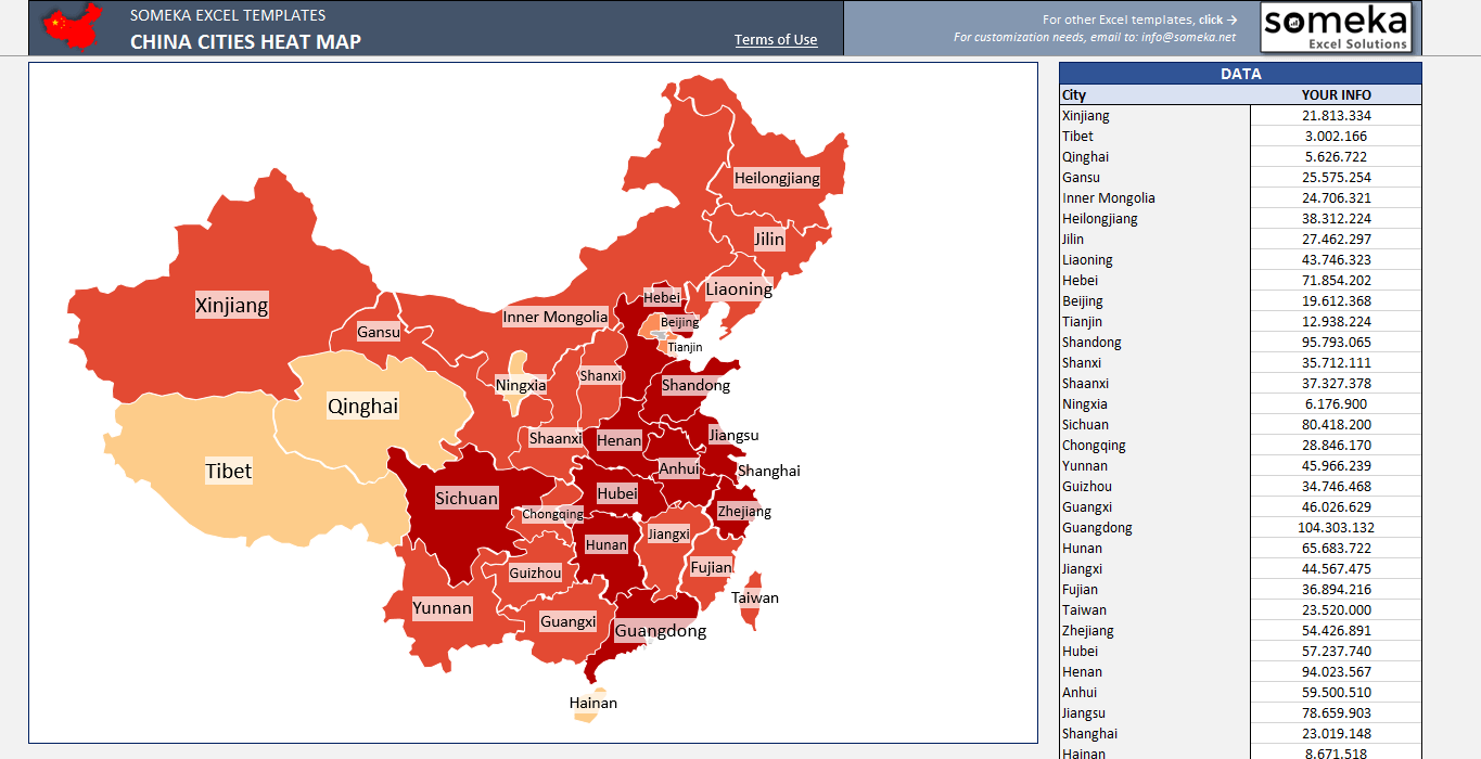 China Geographic Heat Map Generator on excel accounting templates, excel maps of the usa, word mapping template, excel database templates, excel energy colorado natural gas map, import data to excel template, excel 2010 spreadsheet examples, excel data analytics, excel data model, product mapping template, excel data collection template, excel spreadsheet templates, survey templates in word template, excel raw data,