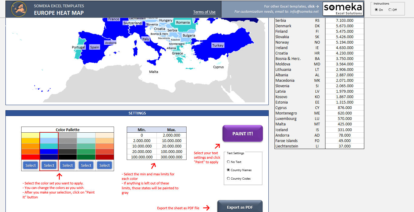 Europe Countries Heat Map - SS3 - Someka Excel Templates