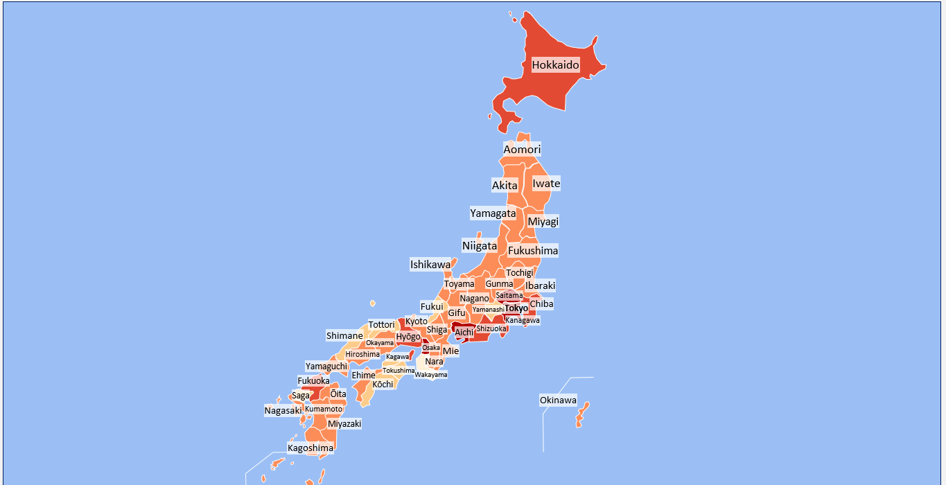 japan heat map excel template automatic city coloring