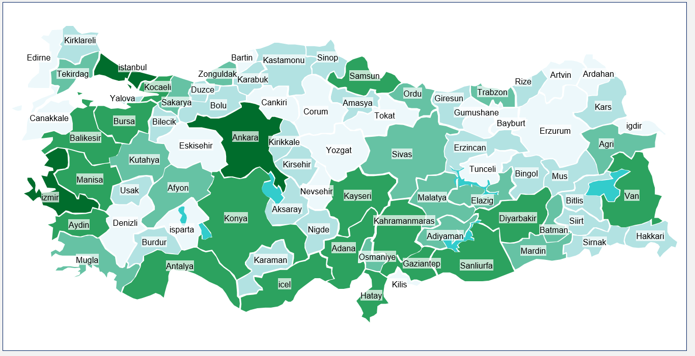 Turkey Heat Map Excel Template Automatic City Coloring