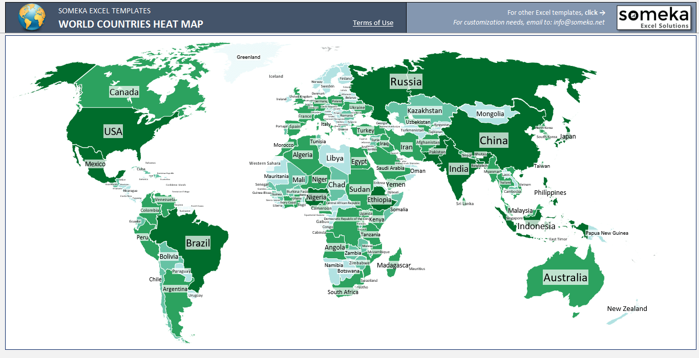 World Countries Heat Map - SS1 - Someka Excel Templates