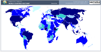 World Countries Heat Map - SS4 - Someka Excel Templates