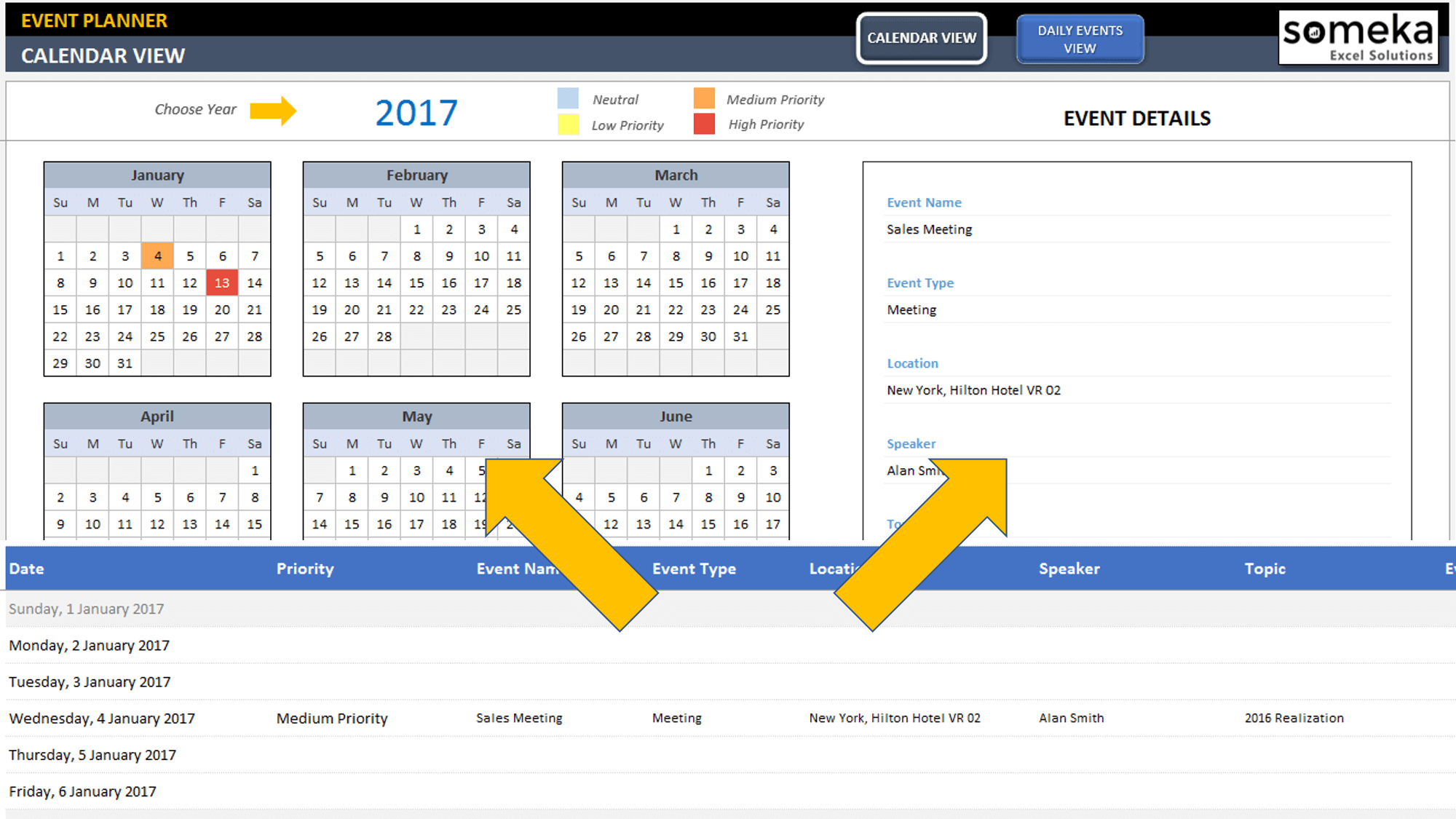dynamic event calendar interactive excel tempate. Black Bedroom Furniture Sets. Home Design Ideas