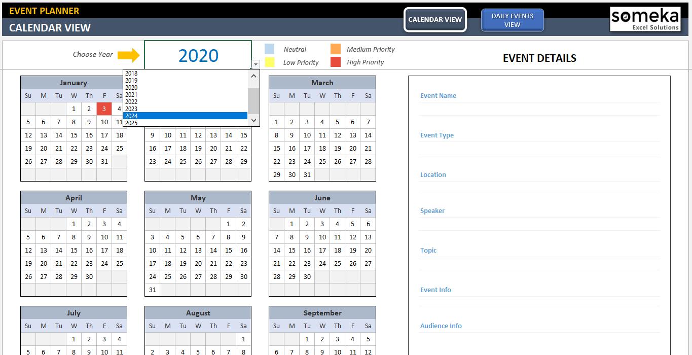 2022 Events Calendar.Dynamic Event Calendar Template Interactive Excel Calendar