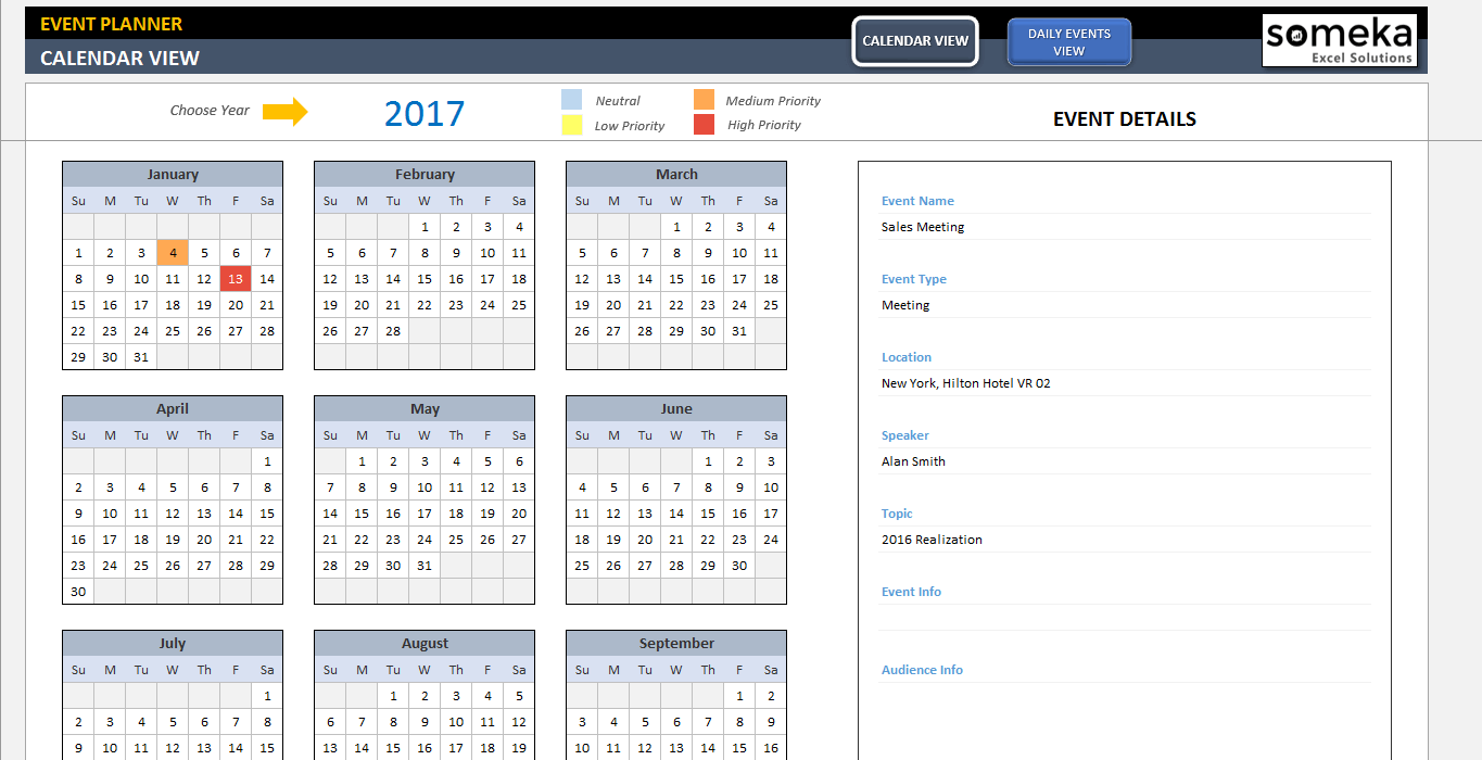 Dynamic Event Calendar Ss1 Someka Excel Templates