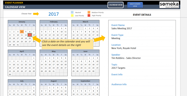 Dynamic Event Calendar - SS3 - Someka Excel Templates