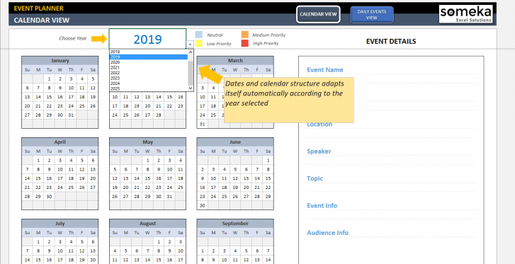 Dynamic Event Calendar - SS4 - Someka Excel Templates
