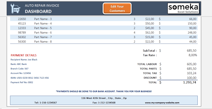 Auto Repair Invoice Excel Template - Someka Excel Solutions - SS2