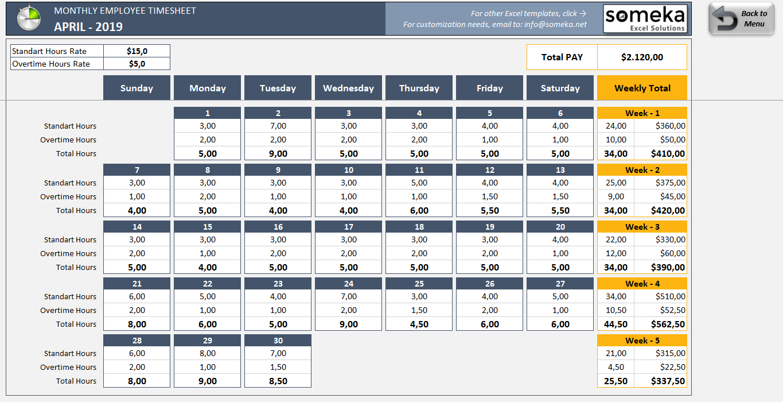 monthly employee timesheet template