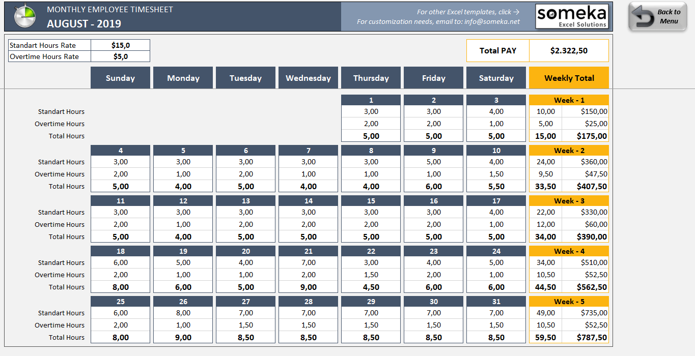Monthly Employee Timesheet Template Free Printable Excel Template