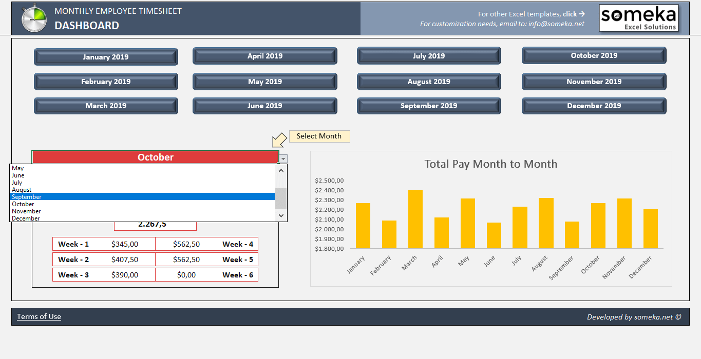 monthly employee timesheet template