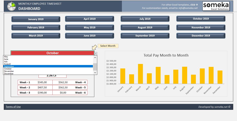 monthly employee timesheet