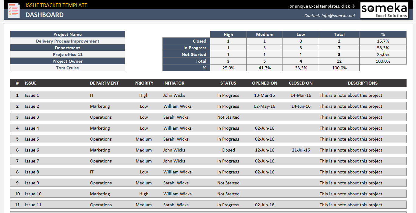 Free Effective issue tracking template for Excel - Issue