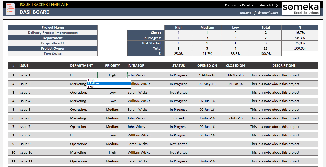 Issue Tracker Template | Free Project Issue Tracking Template