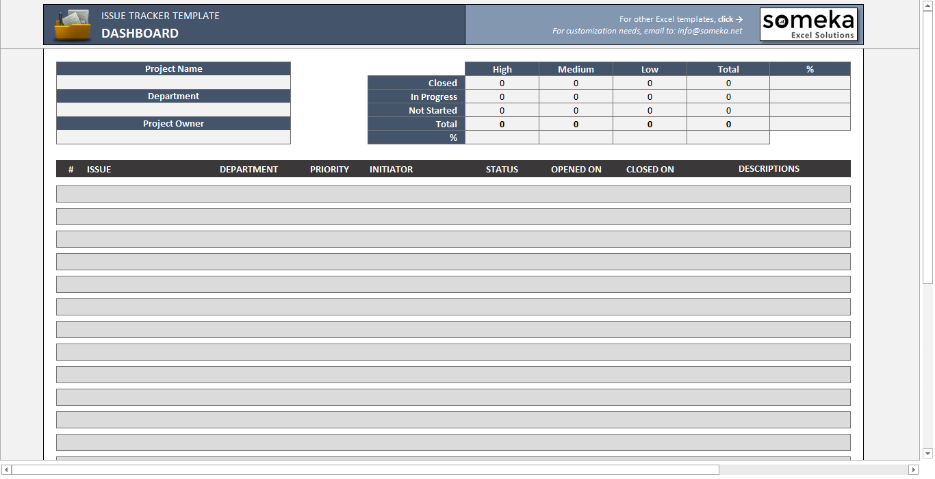 Issue Tracker - Someka SS11