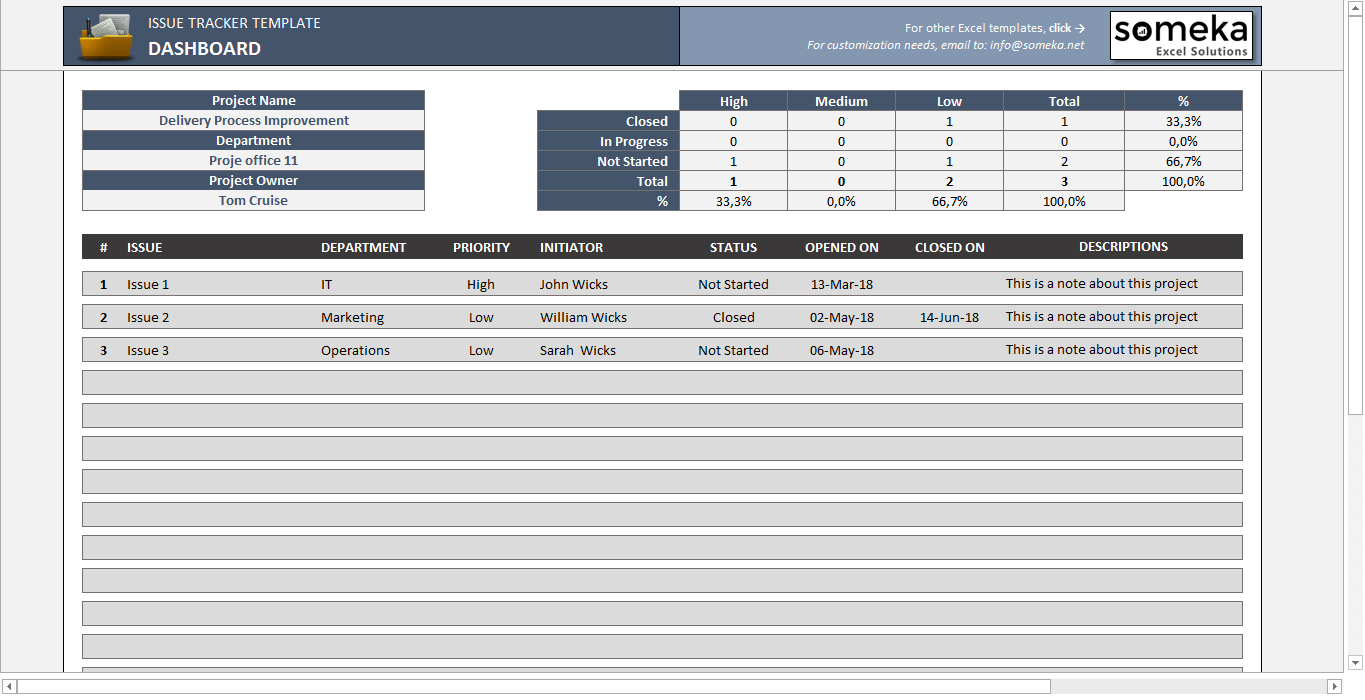 Issue Tracker - Free Excel Template to Track Project Management Issues