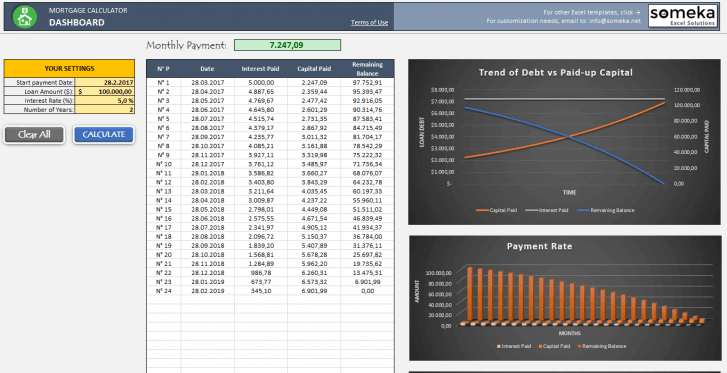 Mortgage Calculator Excel Template - Someka Excel Solutions - SS2