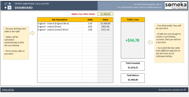 Sports Arbitrage Calculator Excel Template - Someka Excel Solutions - SS1
