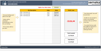 Sports Arbitrage Calculator Excel Template - Someka Excel Solutions - SS2